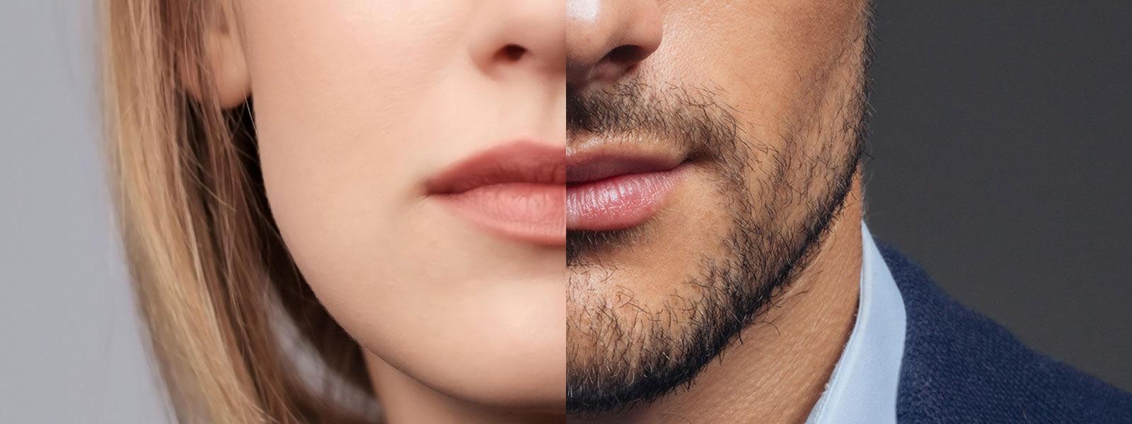 Comparatif homme femme tiers inférieur du visage