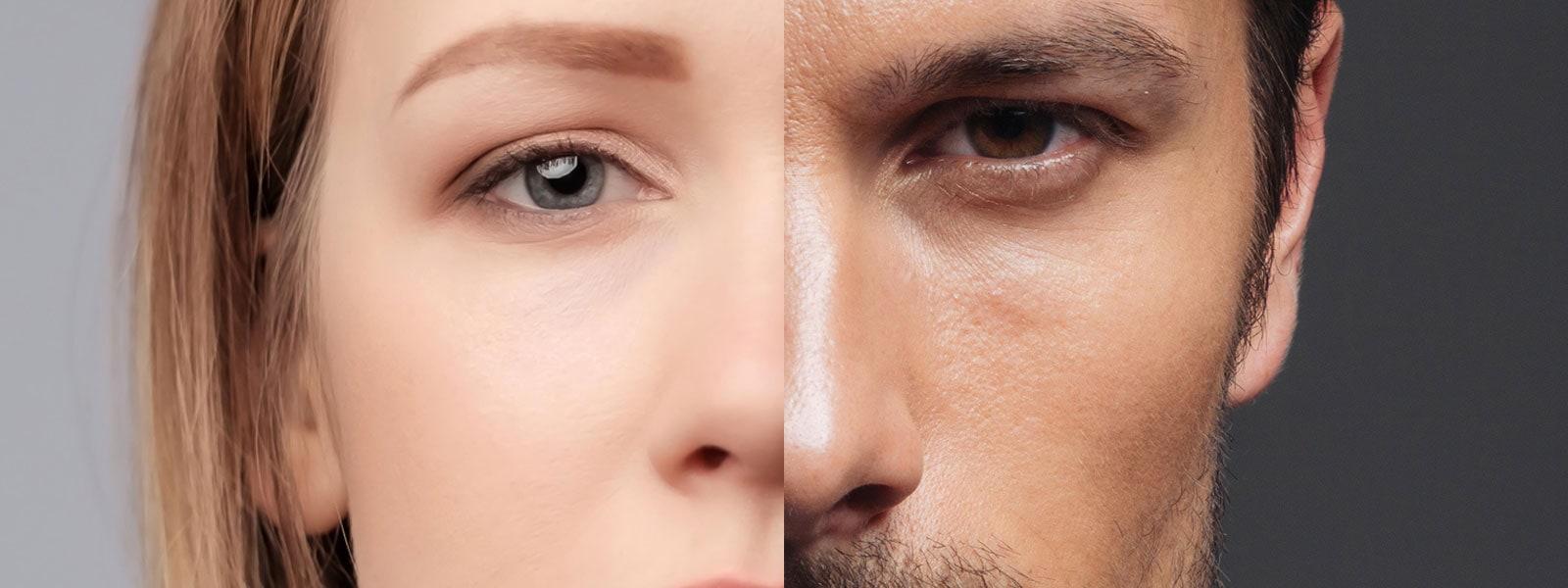 Comparatif homme femme tiers moyen du visage