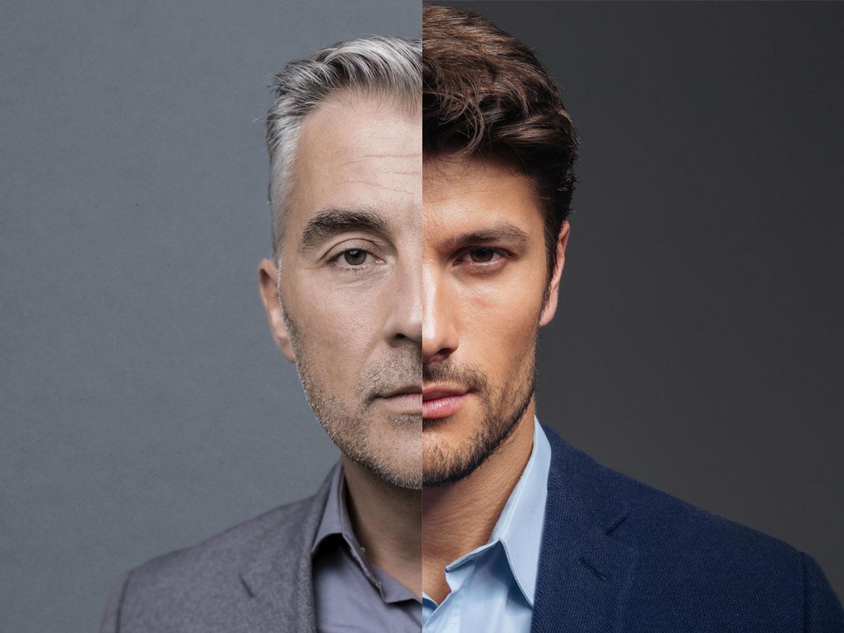 Illustration du vieillissement du visage d'un homme